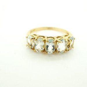 Womens 10k Yellow Gold Blue Topaz Ring